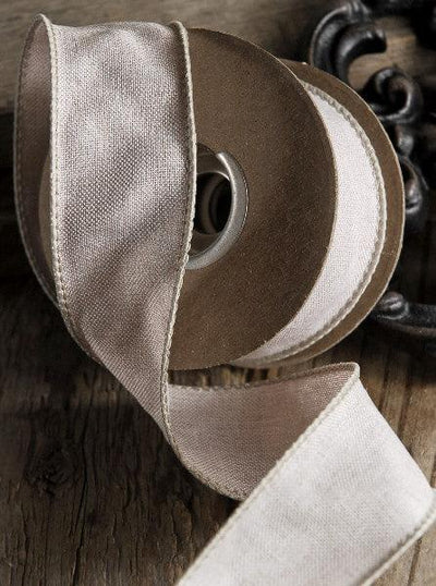 Ivory Linen Ribbon 1.5in x 10 yds Wired