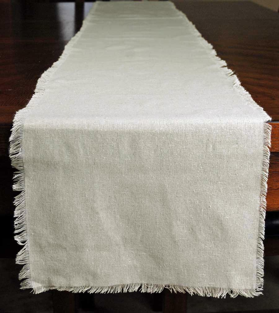 Fringed Edge Linen Table Runner 12.5in x 120in