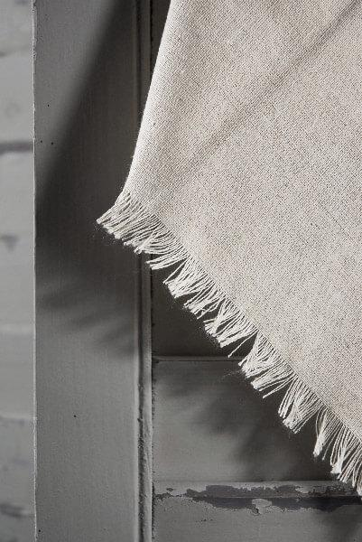 12 Linen Napkins with Fringe Edge 16in Square