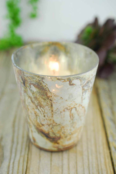 6 Sassi Gold Marbled Votive Holders 4""