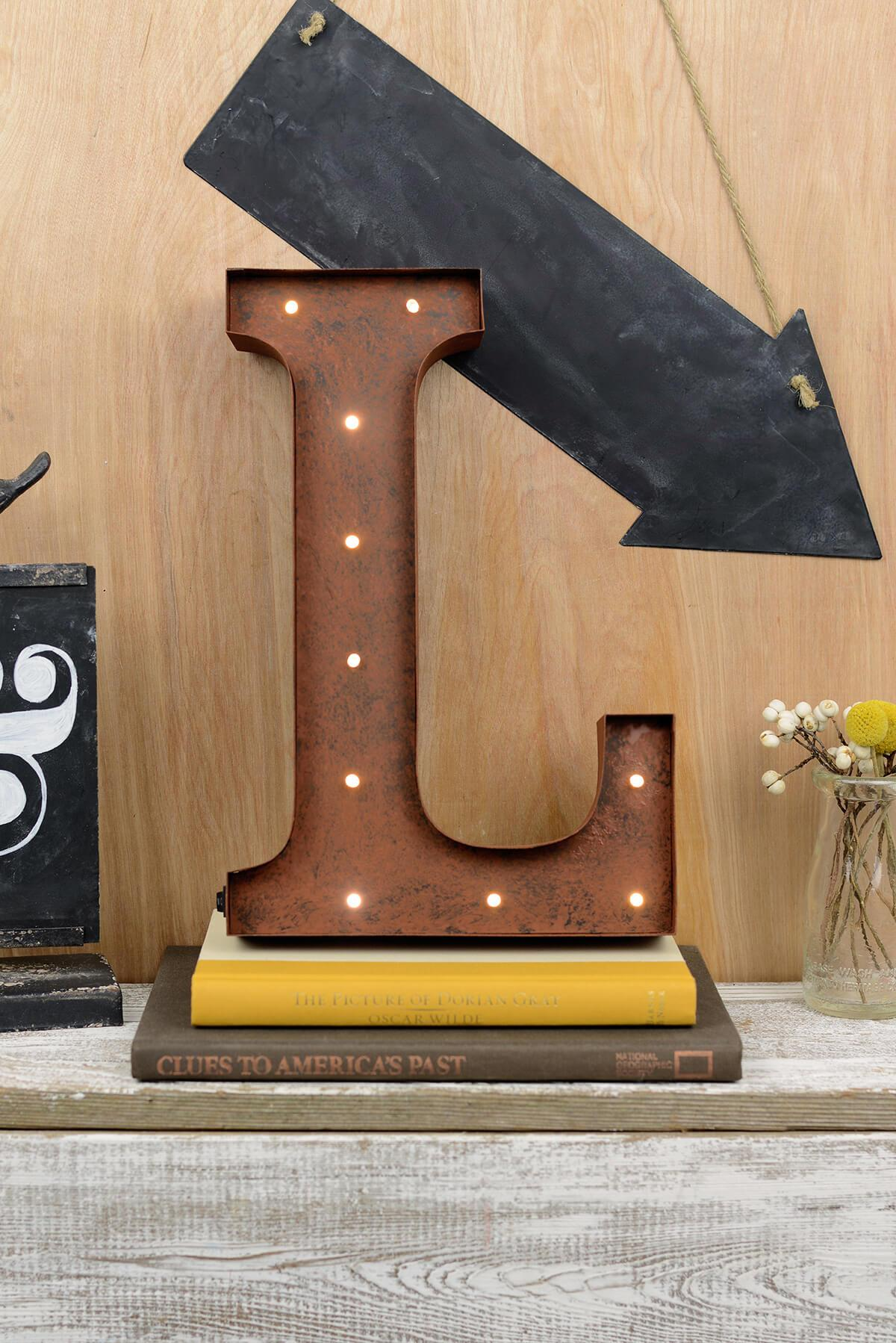 Marquee Letters L 12in Battery Operated 17 Warm White LED Lights