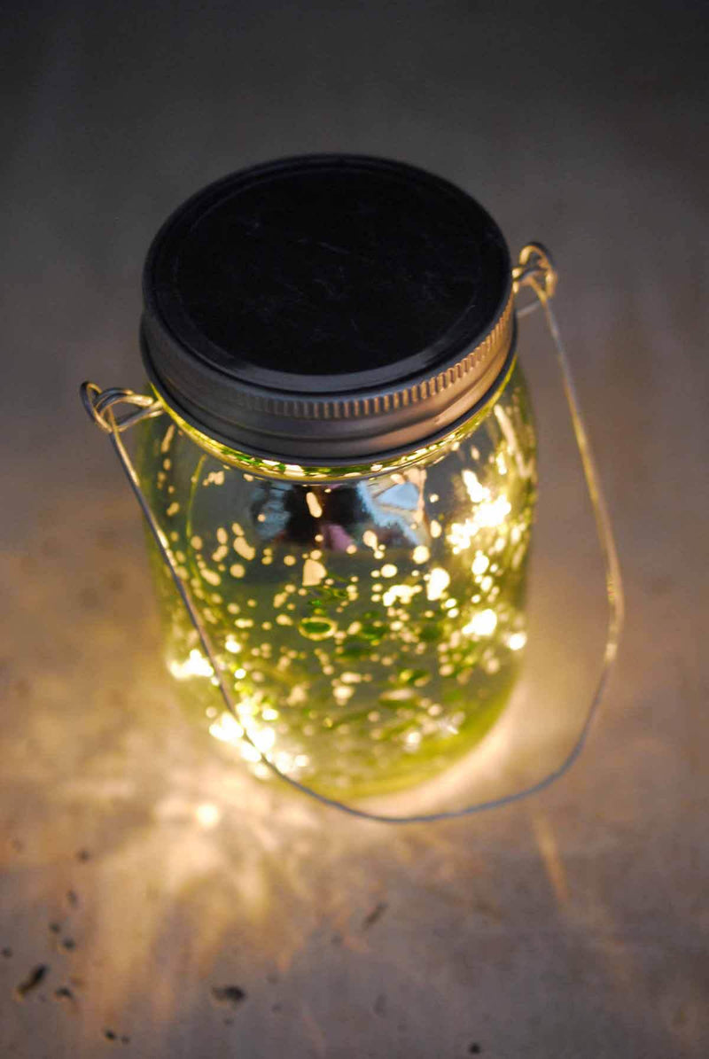 "Green Mercury Glass Mason Jar 5.25"" with LED Lights Battery Operated"