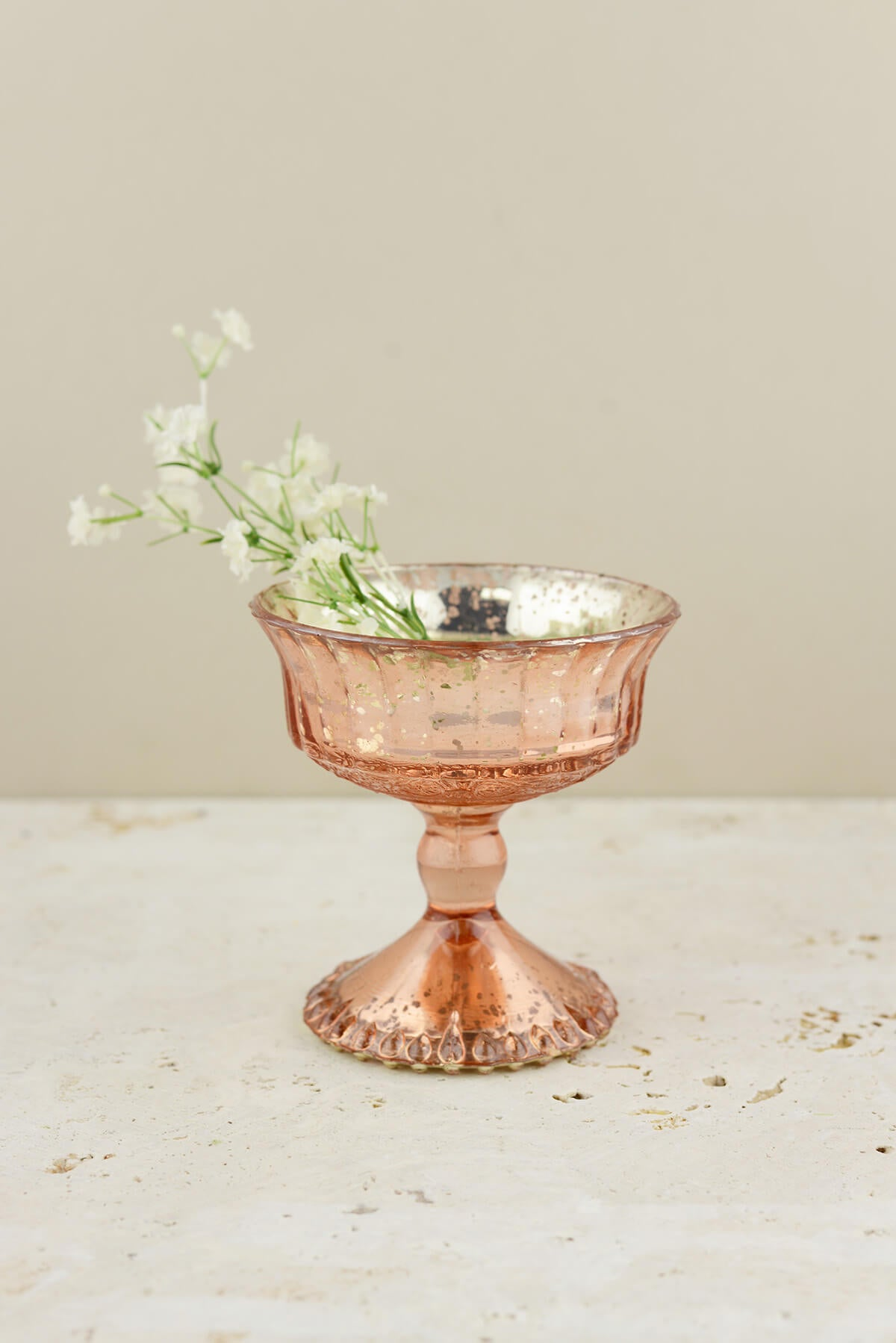 Mercury Glass Compote Rose Gold 4.5in