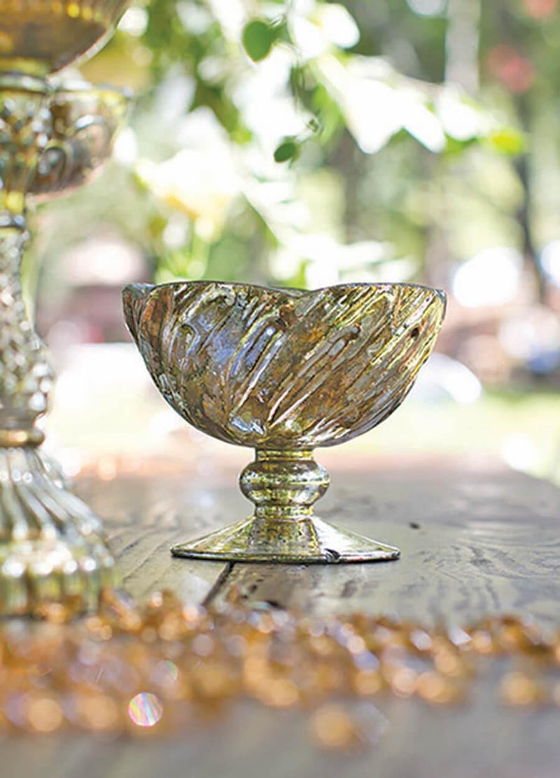 Mercury Glass Fairytale Compote 5x4.25in