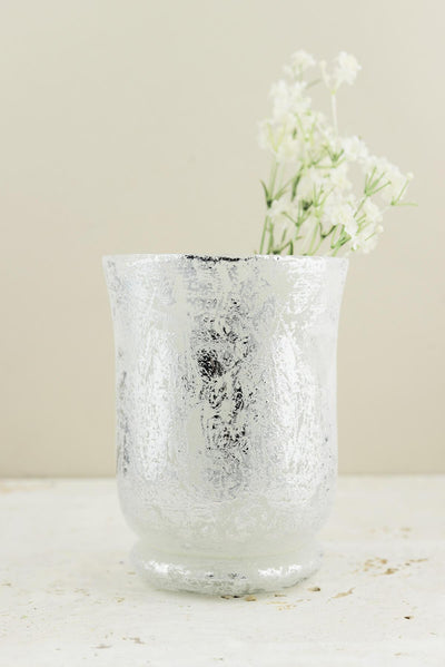 Frosted Mercury Glass Hurricane Vase& Candleholder  6""