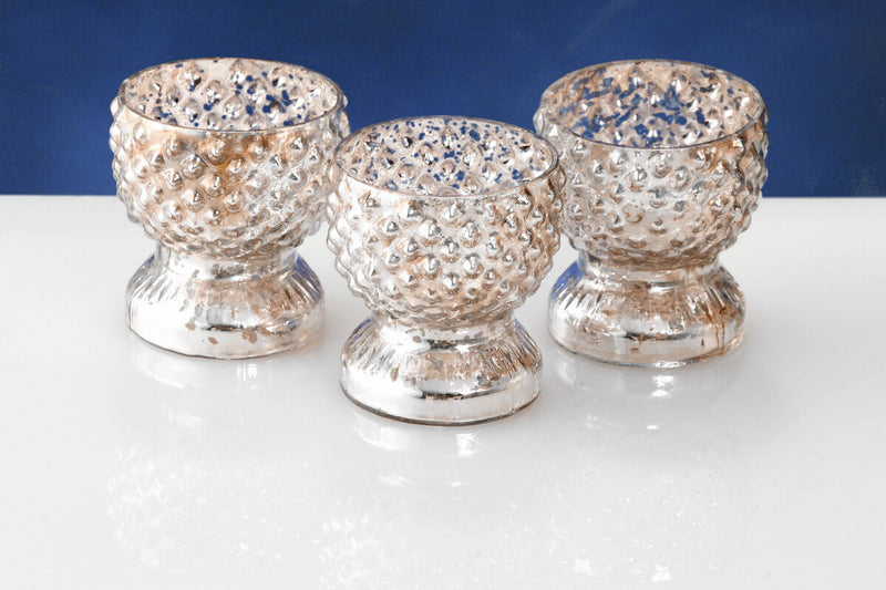 6 tabloid mercury glass votive holders
