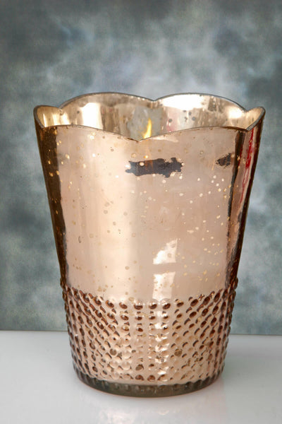 Rose Gold Mercury Glass Array Candle Holders 7.5in