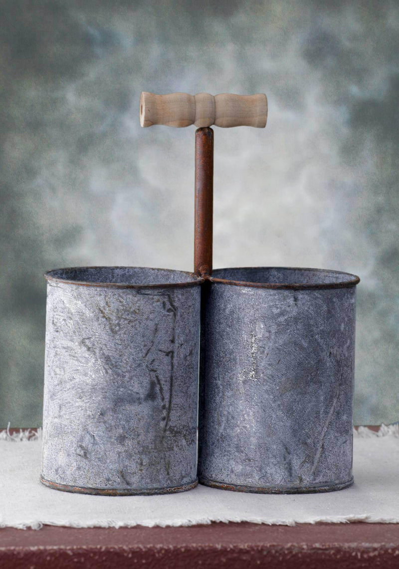 Metal Bucket Pair with Handle Gray