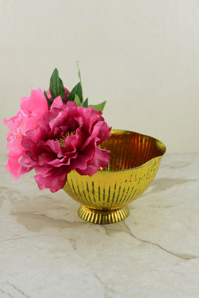 maverick gold metal 8 compote vase