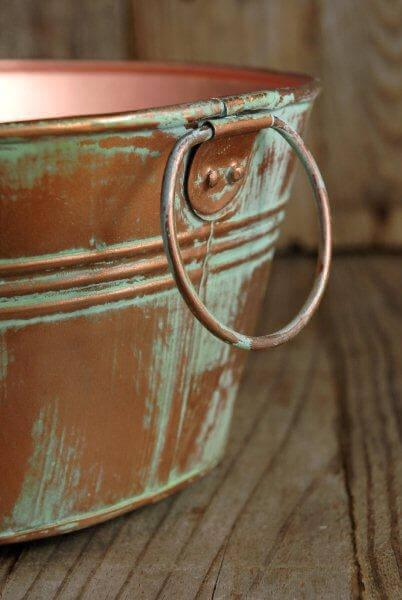 "Copper 12.5"" Tub Verdigris with Ring Handles"
