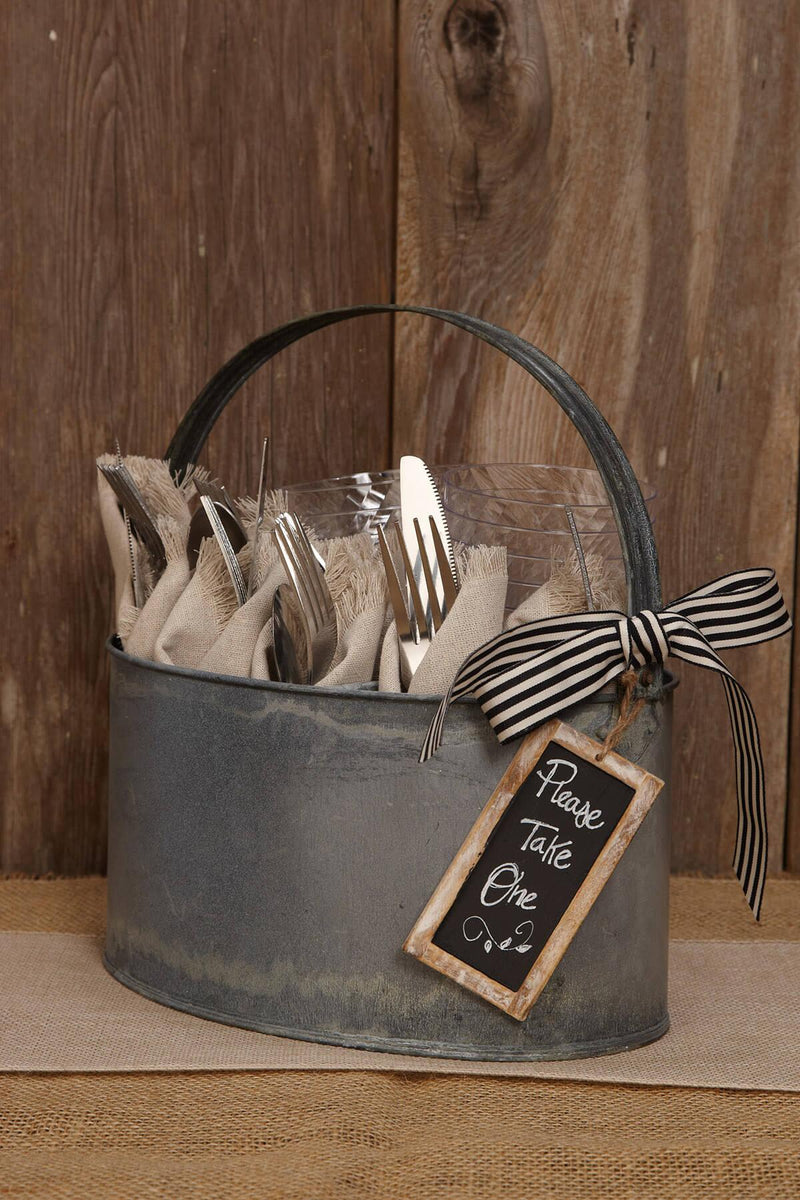 Metal Utensil Holder Rustic Zinc