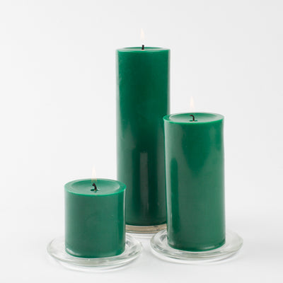 "Richland Pillar Candles 3""x9"" Dark Green Set of 12"
