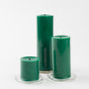 "Richland Pillar Candles 3""x3"", 3""x6"" & 3""x9"" Dark Green Set of 18"