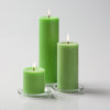 "Richland Pillar Candles 3""x3"", 3""x6"" & 3""x9"" Green Set of 36"