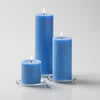 "Richland Pillar Candles 3""x3"", 3""x6"" & 3""x9"" Light Blue Set of 36"