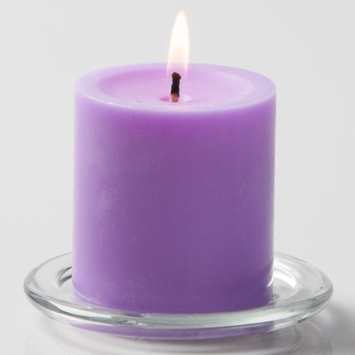 "Richland Pillar Candles 3""x3"" Lavender Set of 24"
