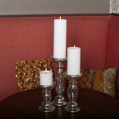 Eastland Unique Mercury Glass Pillar Candle Holder 11.25""
