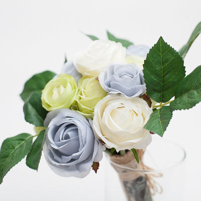 richland blue green white rose bunch 12 4