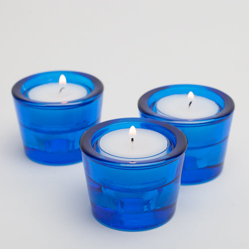 richland multi use tealight and taper holder blue set of 12
