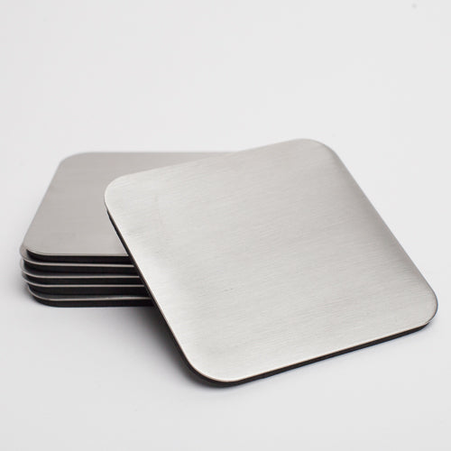"Richland Square Stainless Steel Coaster 4"" Set of 6"