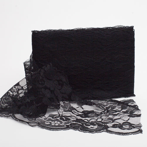 "Richland  5""x10yd Nylon Floral Lace Ribbon Black"