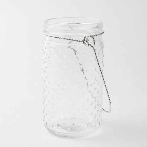 "Eastland 7.5"" Hanging Dotted Glass Jar with Handle Set of 12"