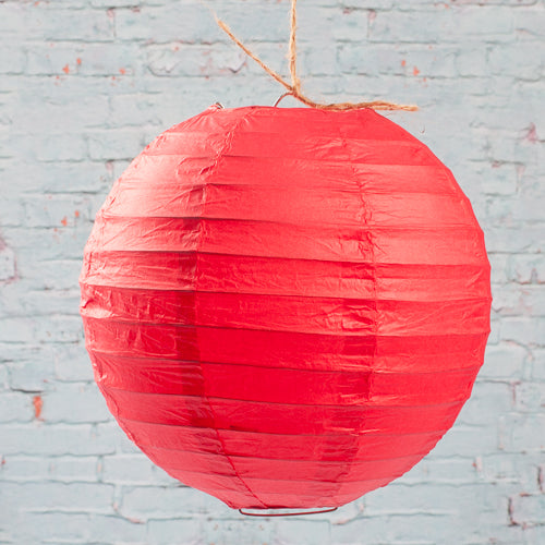 "Richland Round Chinese Paper Lanterns 8"" Red Set of 10"