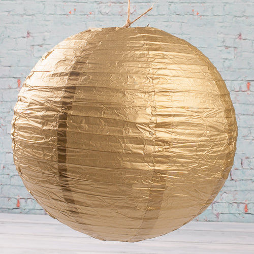 "Richland Round Chinese Paper Lanterns 12"" Gold Set of 10"