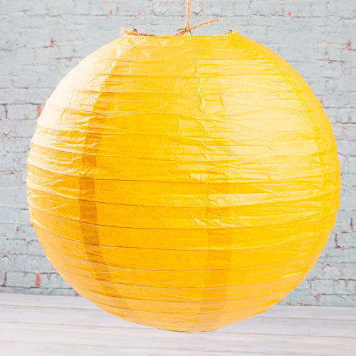 "Richland Round Chinese Paper Lanterns 12"" Yellow Set of 10"