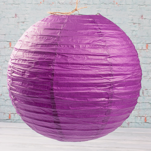 "Richland Round Chinese Paper Lanterns 12"" Purple Set of 10"