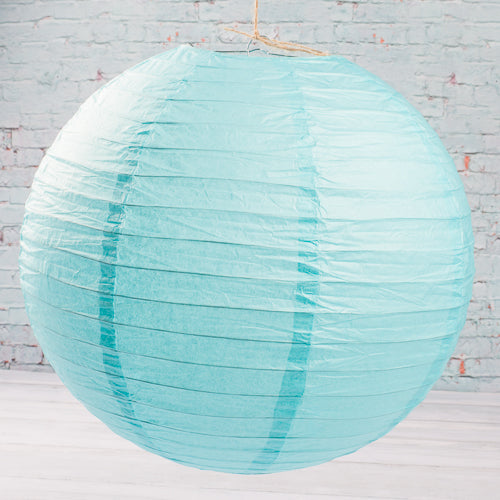 "Richland Round Chinese Paper Lanterns 16"" Turquoise Set of 10"