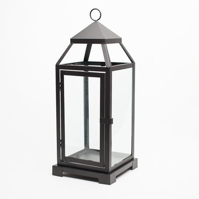 richland black contemporary metal lantern with clear glasses large