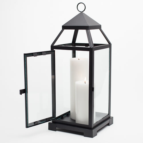 Richland Black Contemporary Metal Lantern with Clear Glasses - Large