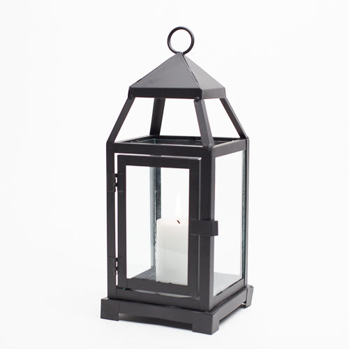 Richland Black Contemporary Metal Lantern with Clear Glasses - Small