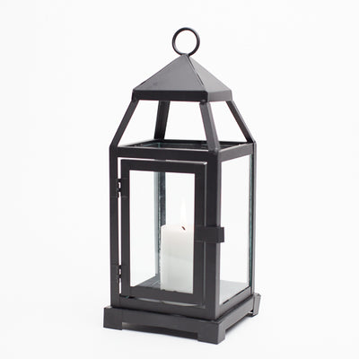 richland black contemporary metal lantern with clear glasses small