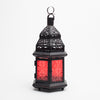 Richland Hanging Moroccan Metal Lantern with Red Embossed Glass