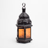 Richland Hanging Moroccan Metal Lantern with Orange Embossed Glass