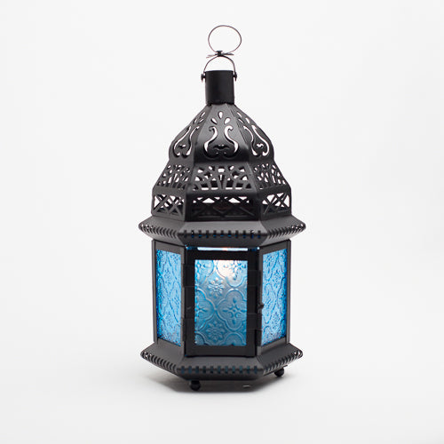 richland hanging moroccan metal lantern with blue embossed glass