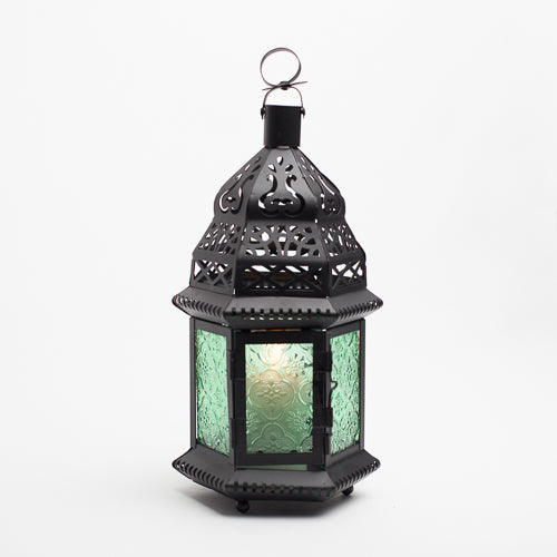 richland hanging moroccan metal lantern with green embossed glass