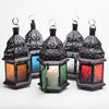richland hanging moroccan metal lantern with clear embossed glass