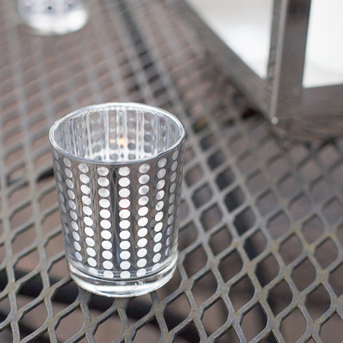 Richland Silver Dotted Glass Holder – Small Set of 12