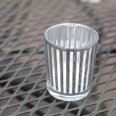 Richland Silver Stripe Glass Holder - Small Set of 12