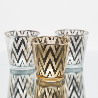 Richland Silver Chevron Glass Holder - Medium Set of 48