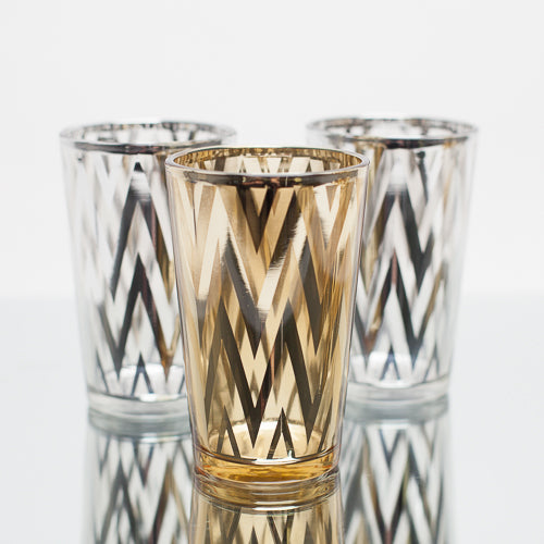 Richland Silver Chevron Glass Holder - Large Set of 6