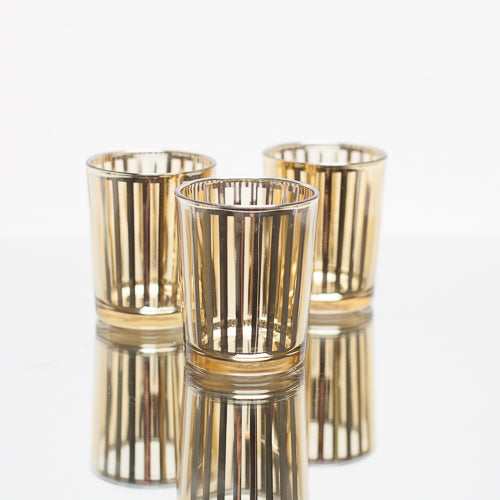 richland gold stripe glass holder small set of 12
