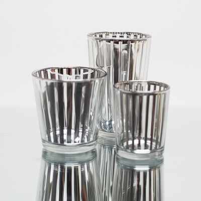 Richland Silver Stripe Glass Holder - Large Set of 6