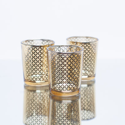 Richland Gold Lattice Glass Holder - Small Set of 72
