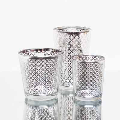 Richland Silver Lattice Glass Holder - Large Set of 48