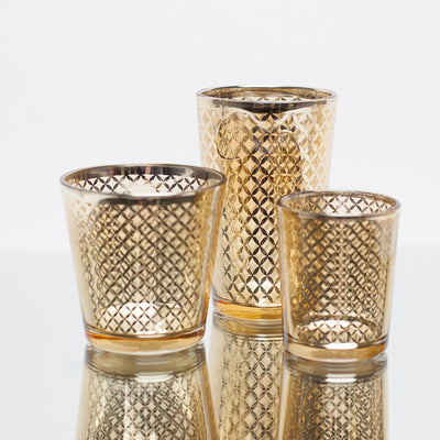 Richland Gold Lattice Glass Holder - Large Set of 6