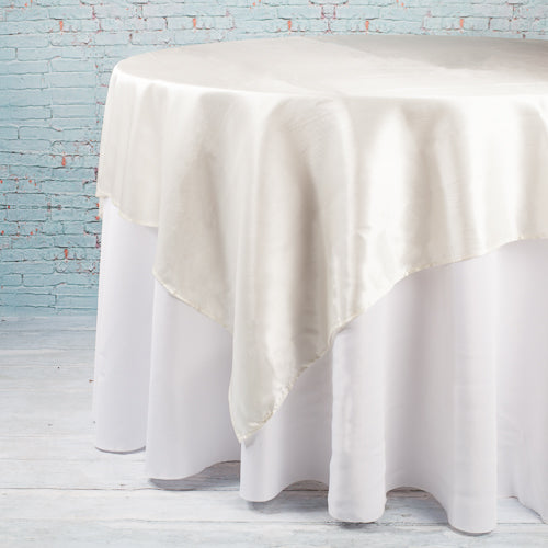 "Richland 72""x72"" Ivory Satin Table Overlay"